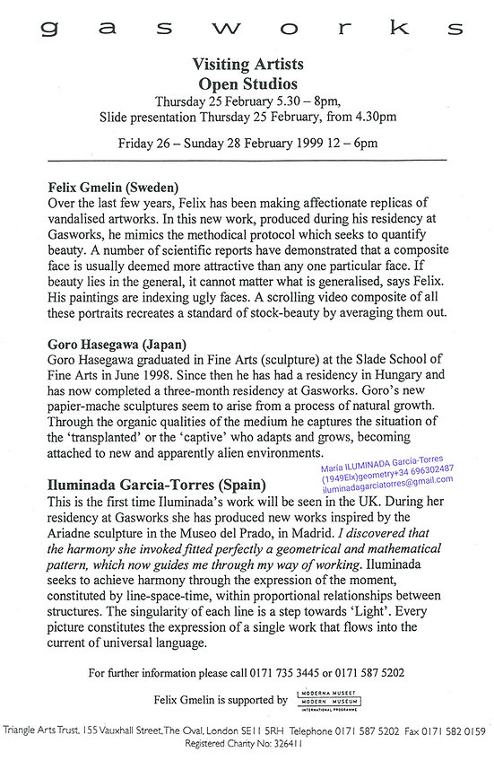 1999 25 February OPEN STUDIOS Felix Gmel