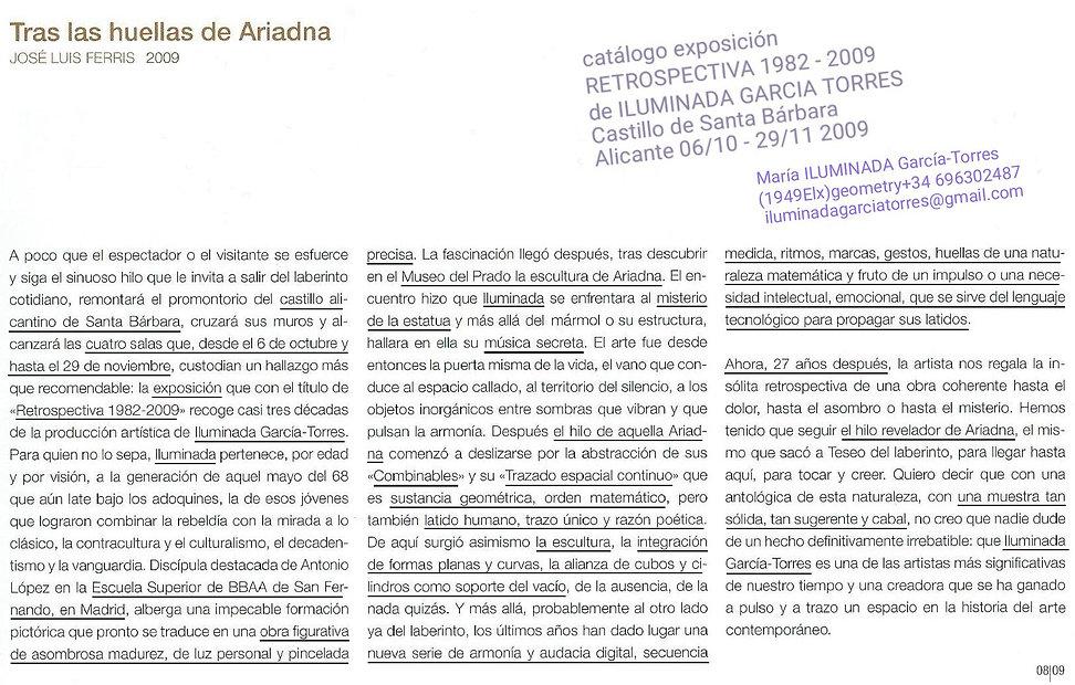2009texto JoseLuis Ferris. Retrospectiva