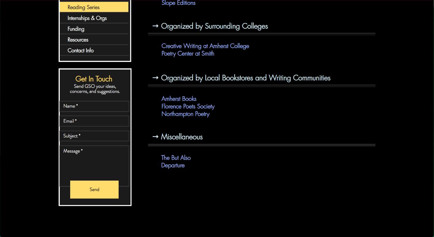 Screenshot of Student Resources website