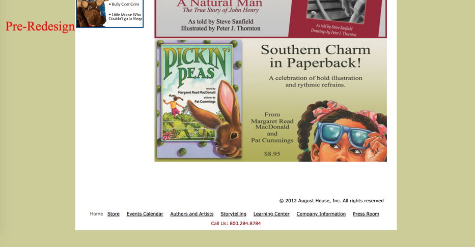 Screenshot of old August House website