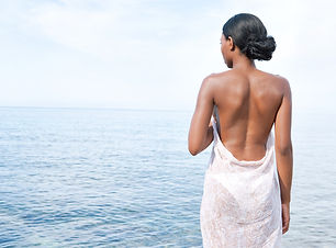 Rear view of an attractive african ameri