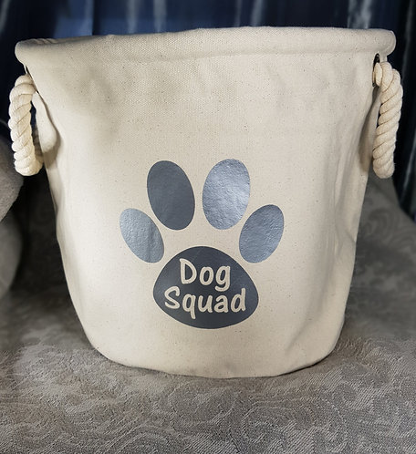 Dog Toy Bag PERSONALISED PAW PRINT Silver
