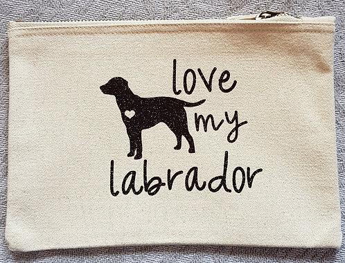 Dog Print Zip Pouch LOVE MY LAB