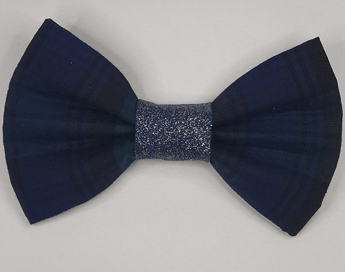 Xmas Tartan NAVY Dog Bow Tie