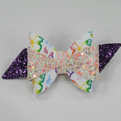 Butterfly Print Glitter Vinyl Double Bow