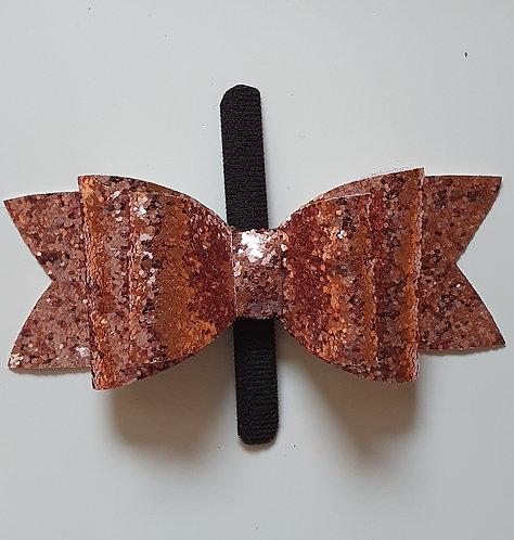 Rose Gold Glitter Vinyl Double Bow
