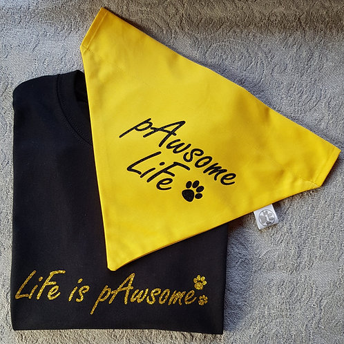 Life Is Pawsome Tee/Bandana Set BLACK/YELLOW