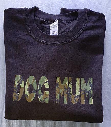 Personalised Dog Mum CAMO SWEATSHIRT BLACK
