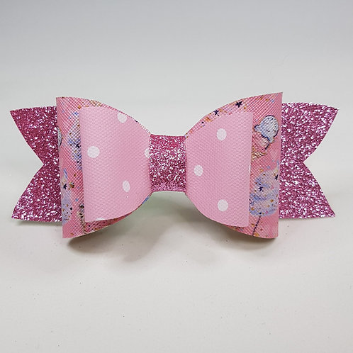 Spot/Ice cream and Glitter PINK Leatherette/Vinyl Double Bow