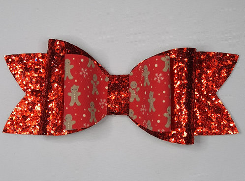 Xmas Gingerbread Glitter Double Bow