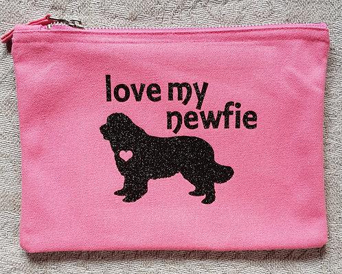 Dog Print Zip Pouch LOVE MY NEWFIE