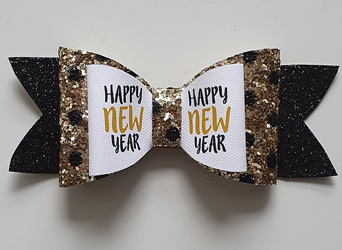 HAPPY NEW YEAR Glitter Double Bow GOLD/BLACK