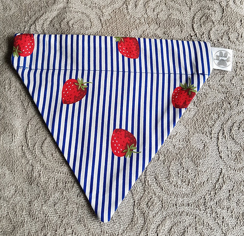 Strawberry Stripe BLUE Dog Bandana