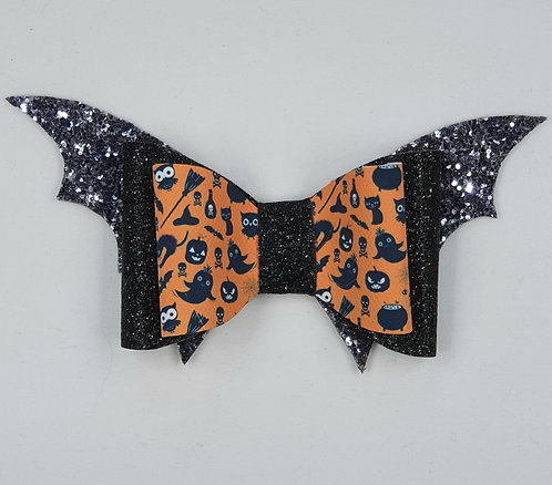 Bat Halloween Glitter Vinyl Double Bow