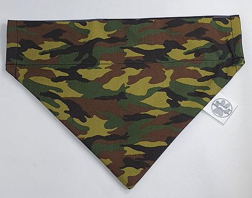 Camo GREEN Print Over Collar Dog Bandana