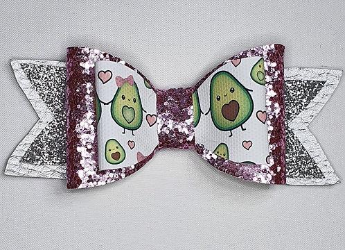 Advocado Double Hearts Glitter Bow