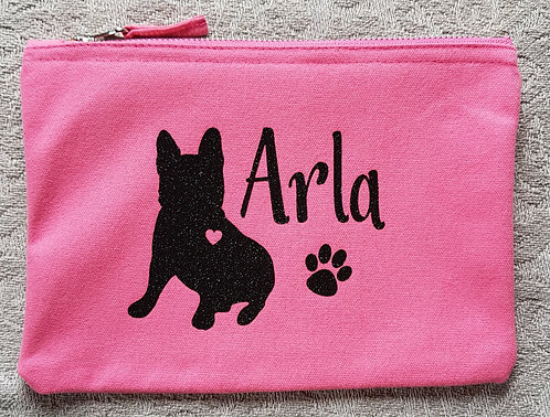 PERSONALISED Dog Print Zip Pouch DOG NAME AND BREED
