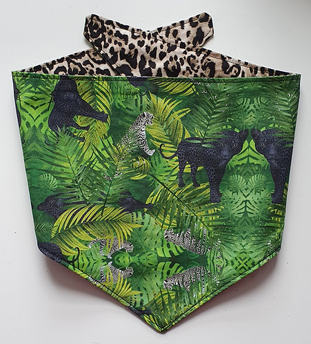 Jungle Leopard Exclusive D2P Print Reversible Popper Dog Bandana