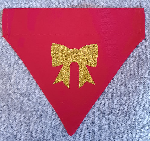 Glitter Bow RED Dog Bandana