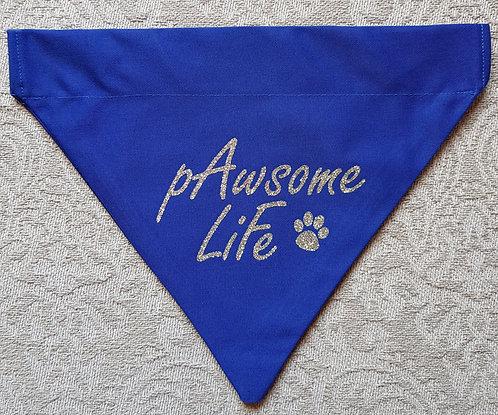 PAWSOME LIFE Glitter print Dog Bandana BLUE