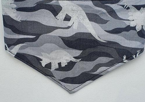 Camo GREY DINO Print Over Collar Dog Bandana
