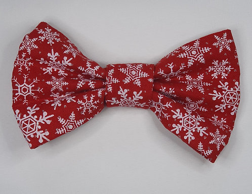 Xmas RED Snowflake Dog Bow Tie