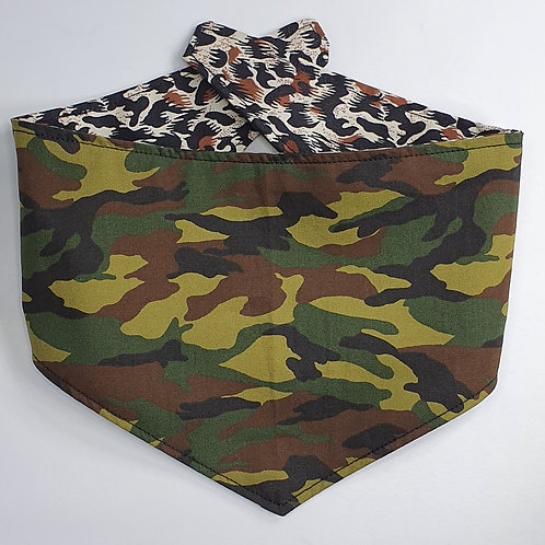 Camo/Animal Print Reversible Popper Dog Bandana