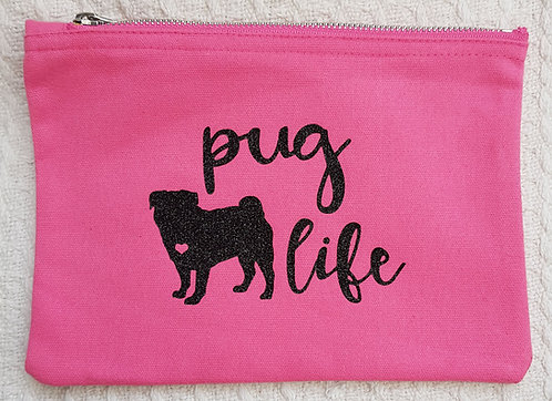 Dog Print Zip Pouch PUG LIFE
