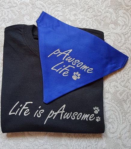 PERSONALISED Life Is Pawsome Tee/Bandana Set BLACK/BLUE