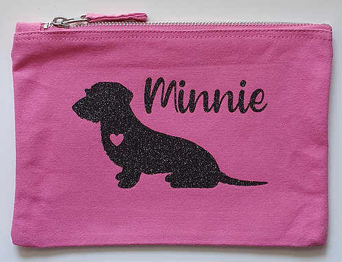 Dog Print Zip Pouch Wire Haired Dachshund Name