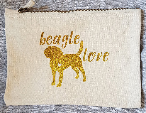Dog Print Zip Pouch BEAGLE LOVE