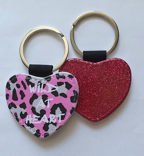 PINK Leopard Wild At Heart Keyring with glitter reverse