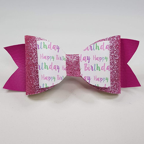 Happy Birthday PINK Leatherette/Vinyl Double Bow