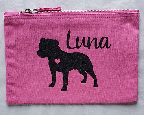 Dog Print Zip Pouch Staffy Name