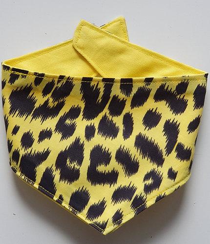 Yellow Leopard Print Reversible Popper Dog Bandana