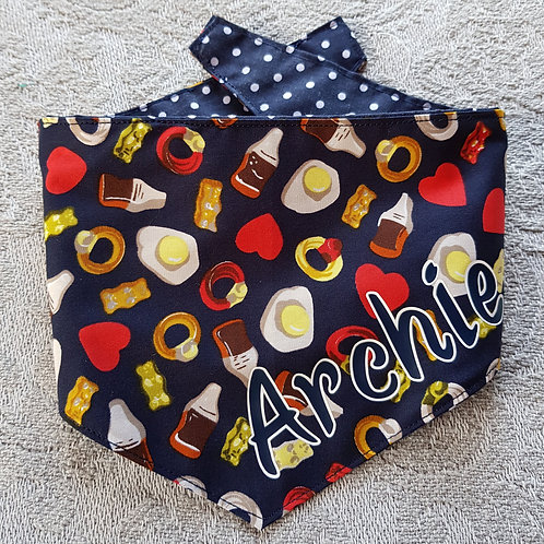 Jelly Sweets NAVY REVERSIBLE POPPER DOG BANDANA