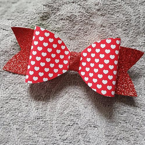 Hearts RED Glitter/Vinyl Bow