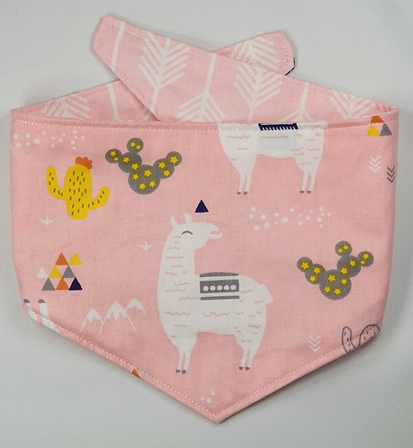 LLAMA PINK REVERSIBLE POPPER DOG BANDANA