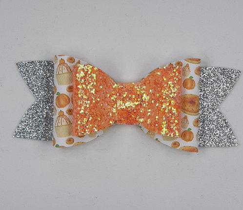 Pumpkin Cupcakes Glitter Vinyl Double Bow