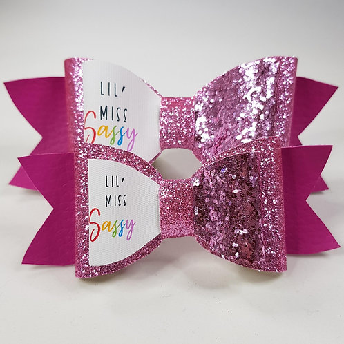 Lil Miss Sassy Vinyl/Glitter Double Bow