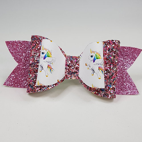 Rainbow Unicorn Vinyl/Glitter Double Bow