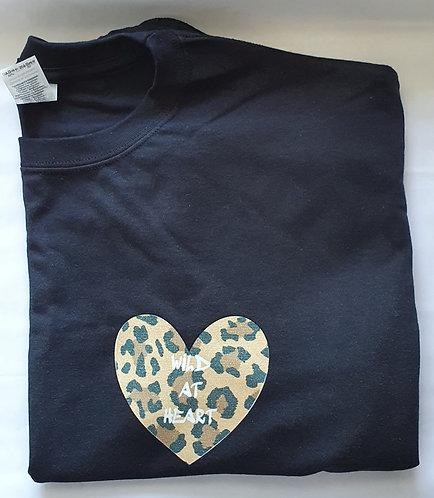 Beige Leopard Glitter Hear print Tee Shirt
