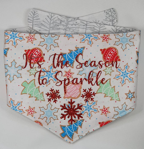 Xmas Snowflakes REVERSIBLE POPPER DOG BANDANA