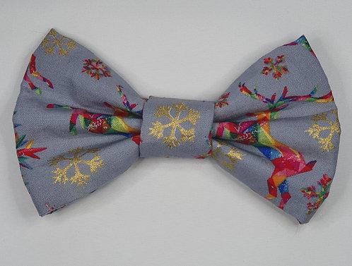 Xmas Multi Colour Stag Dog Bow Tie