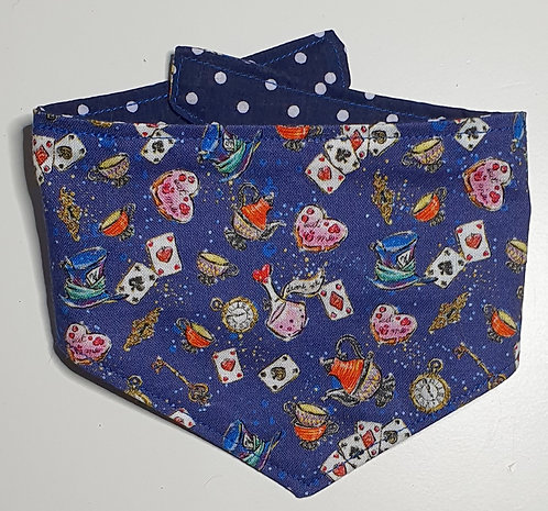Wonderland BLUES REVERSIBLE POPPER DOG BANDANA