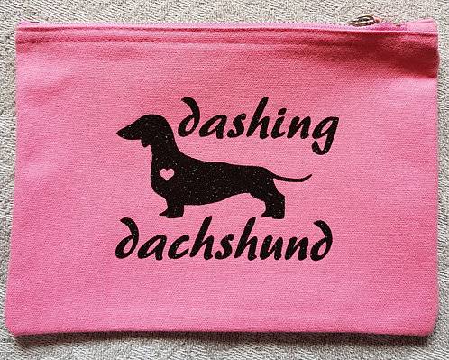 Dog Print Zip Pouch DASHING DACHSHUND