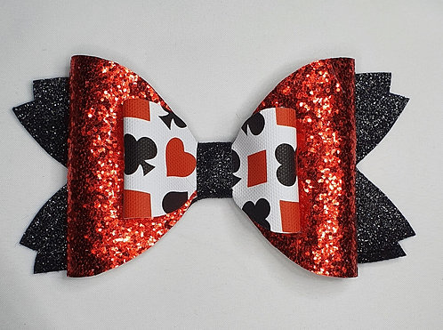 Playing Card Suits Glitter Double Bow