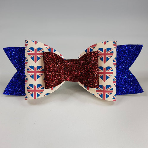 British Flag Vinyl/Glitter Double Bow