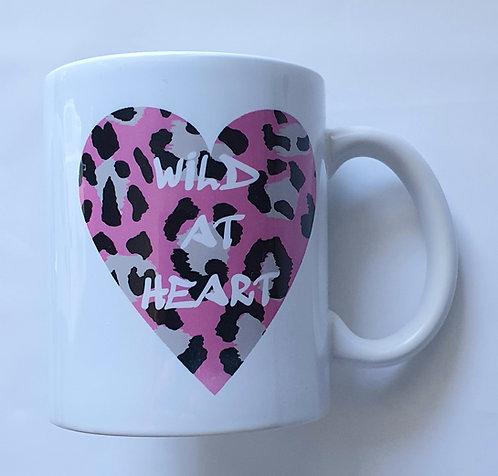 Pink Leopard Wild At Heart Print Mug