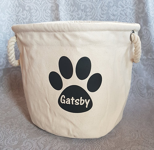 Dog Toy Bag PERSONALISED PAW PRINT Black